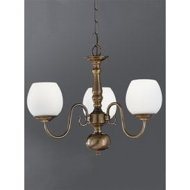 Halle 3 Light Multi-Arm Ceiling Fitting in Bronze Finish With Satin White Glass Shades