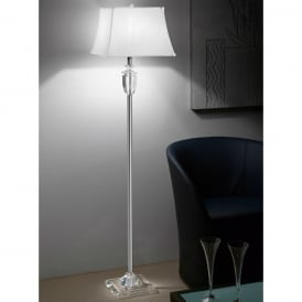 Hugo Single Light Floor Lamp in Clear Crystal with Tapered Silk Shade