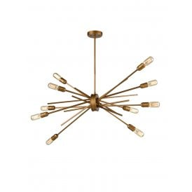 Idaho 10 Light Multi Arm Ceiling Fitting in Antique Gold Finish