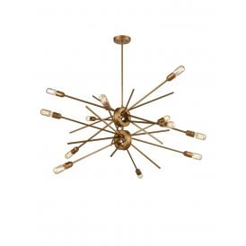 Idaho 12 Light Multi Arm Ceiling Fitting in Antique Gold Finish