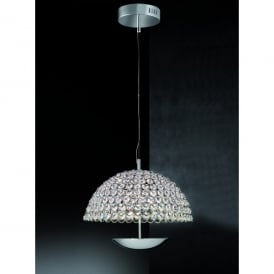 Illusion Single Light LED Large Ceiling Pendant In Polished Chrome And Crystal Finish
