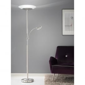LED Mother And Child Floor Lamp In Satin Nickel Finish With Frosted Glass Uplighter Shade