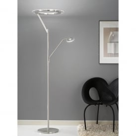 LED Mother And Child Floor Lamp In Satin Silver Finish With Glass Shade