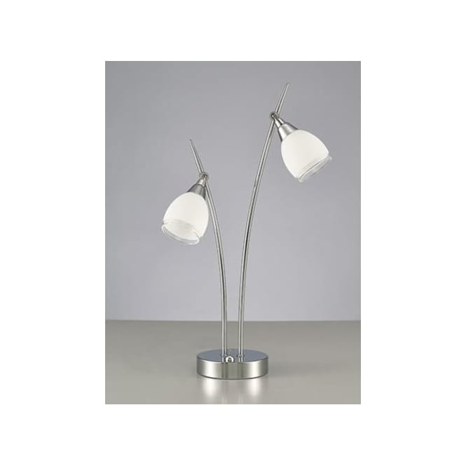 Lutina 2 Light Table Lamp In Polished Chrome Finish And Frosted Glass Shade