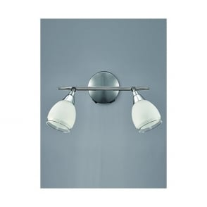 Lutina Double Light Spot Fitting In Polished Chrome Finish And Frosted Glass Shade
