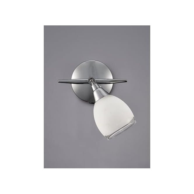 Lutina Single Light Spot Fitting In Polished Chrome Finish And Frosted Glass Shade