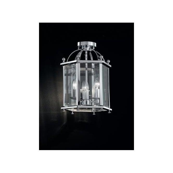 Madison 3 Light Semi Flush Ceiling Lantern In Polished Chrome Finish