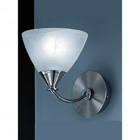 Meridian Single Light Wall Fitting in Brushed Nickel Finish With Glass Shades