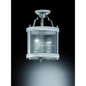 Merton 3 Light Semi Flush Lantern In Polished Chrome Finish With Clear Ribbed Glass Panels