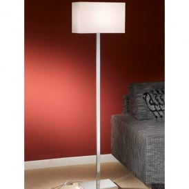 Modern Single Light Floor Lamp in Polished Chrome Complete with Shade