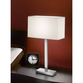 Modern Single Light Table Lamp In Polished Chrome Complete With Shade