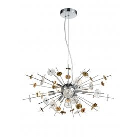 Nova 8 Light Ceiling Pendant in Polished Chrome and Gold Finish