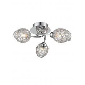Ocarina 3 Light Flush Ceiling Fitting in Polished Chrome Finish with Shades