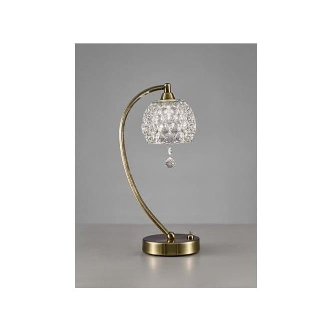 Omni Single Light Table Lamp In Bronze Finish With Dimpled Clear Glass Shades