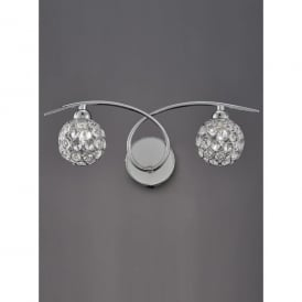 Oracle 2 Light Switched Wall Fitting In Polished Chrome And Crystal Finish