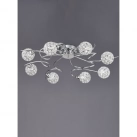 Oracle 8 Light Ceiling Fitting In Polished Chrome And Crystal Finish