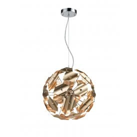 Ormolu 5 Light Small Ceiling Pendant in Polished Chrome and Gold Finish