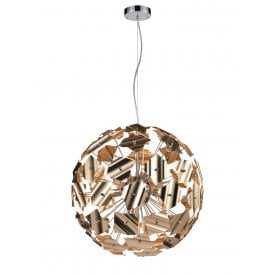 Ormolu 9 Light Large Ceiling Pendant in Polished Chrome and Gold Finish