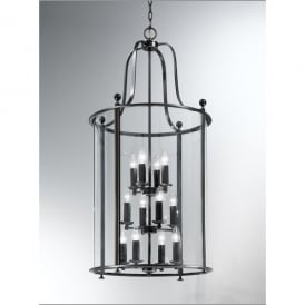 Pasillo Large 12 Light Indoor Lantern in Antique Bronze with Gold Highlights