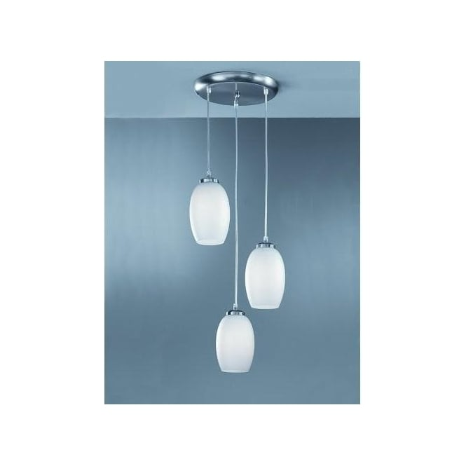 Pendeo 3 Light Ceiling Pendant With Oval Glass Shades And Satin Nickel Finish