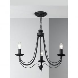 Philly 3 Light Dual Mount Chandelier with Black Italian Ironwork