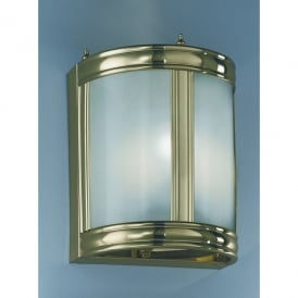 Polished Cast Brass 2 Light Low Energy Wall Fitting with Translucent Glass Panels