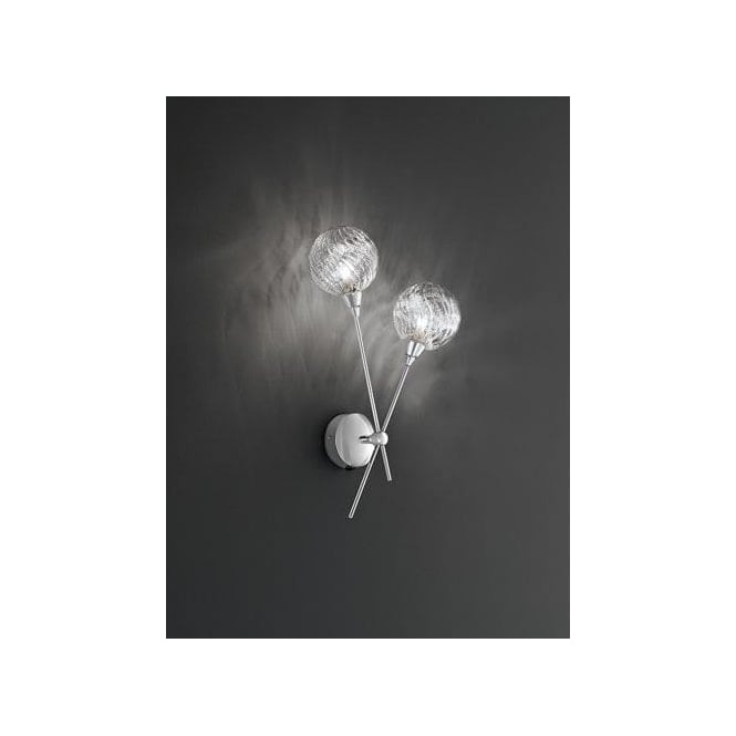 Protea 2 Light Halogen Wall Fitting In Polished Chrome And Clear Glass Finish
