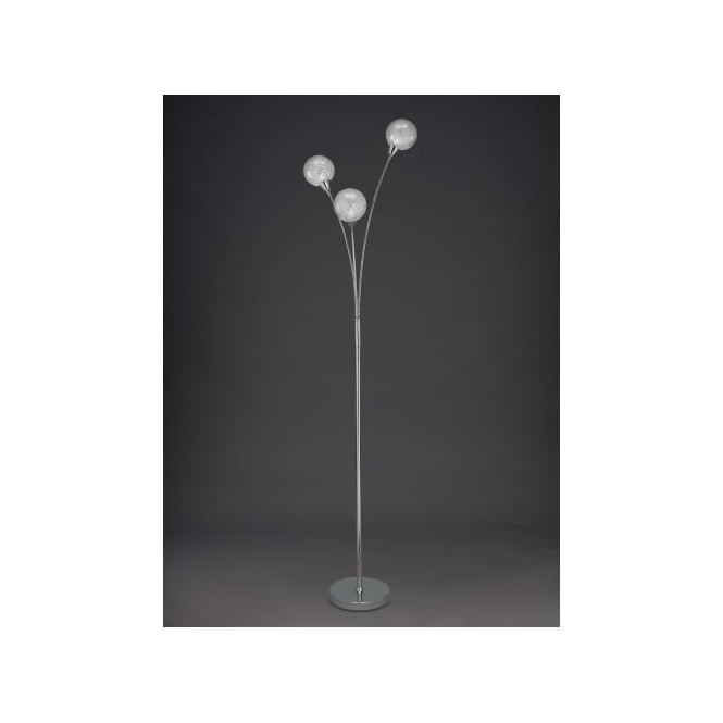 Protea 3 Light Floor Lamp In Polished Chrome Finish With Textured Clear Glass Shades