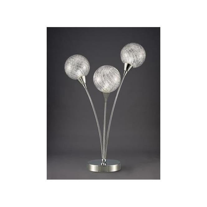 Franklite Protea 3 Light Table Lamp In Polished Chrome Finish With