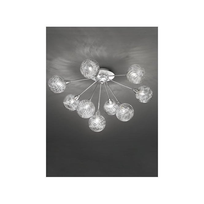 Protea 9 Light Halogen Semi Flush Ceiling Fitting In Polished Chrome And Clear Glass Finish