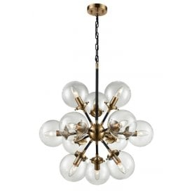 Reaction 12 Light Ceiling Pendant In Matt Black And Antique Gold Finish With Clear Glass Globe Shades