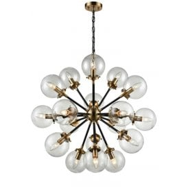 Reaction 18 Light Ceiling Pendant In Matt Black And Antique Gold Finish With Clear Glass Globe Shades