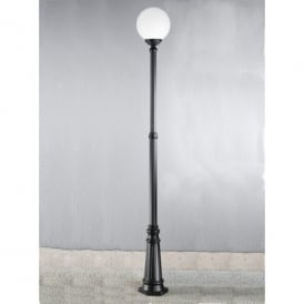 Rotonda Single Light Outdoor Large Lamp-Post in Black with Opal Diffuser