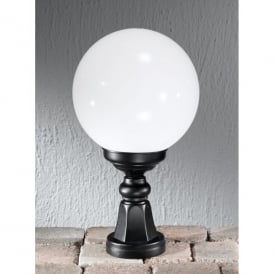 Rotonda Single Light Outdoor Pedestal Fitting in Black with Opal Diffuser
