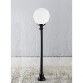 Rotonda Single Light Outdoor Short Floor Post in Black with Opal Diffuser