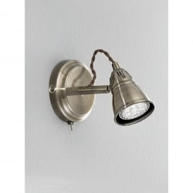 Rustica Single Light Switched LED Wall Spotlight