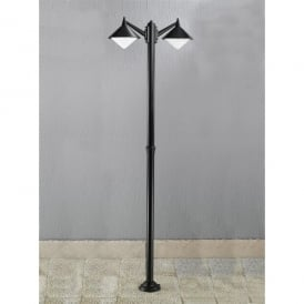 Sera 2 Light Post Light In Matt Black Finish With Opal Acrylic Diffuser