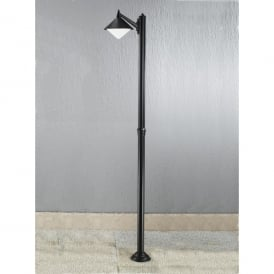 Sera Single Light Tall Post Light In Matt Black Finish With Opal Acrylic Diffuser