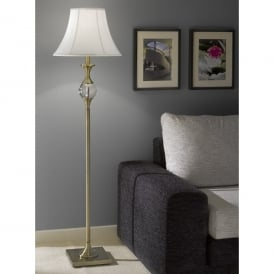 Single Light Floor Lamp In Bronze Finish With White Bowed Drum Shade