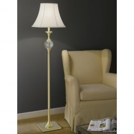 Single Light Floor Lamp In Satin Brass Finish With White Bowed Drum Shade