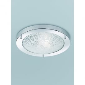 Single Light Flush Bathroom Ceiling Fitting In Polished Chrome Finish With Textured Frosted Glass