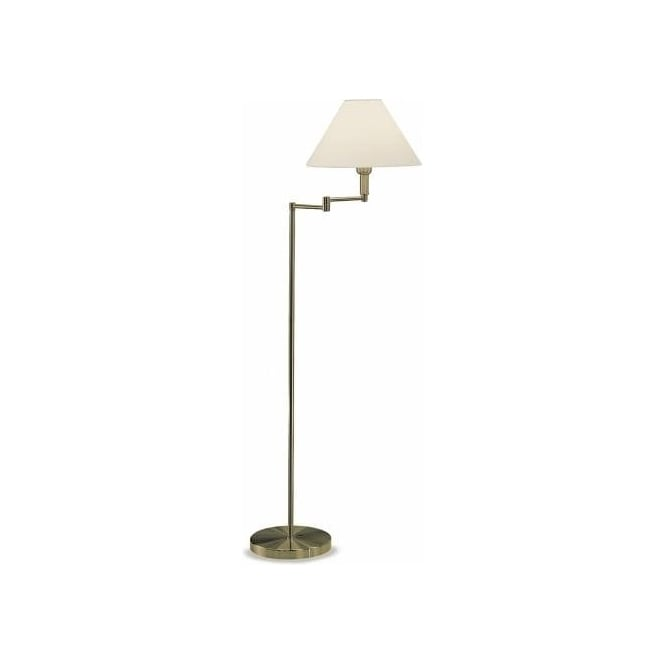 Franklite Single Light Swing Arm Floor Lamp In Bronze Finish With Cream Fabric Shade
