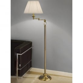 Single Light Swing Arm Floor Lamp In Bronze Finish With Cream Pleated Shade