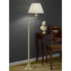 Single Light Swing Arm Floor Lamp In Satin Brass Finish With Cream Pleated Shade
