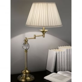 Single Light Swing Arm Table Lamp In Bronze Finish With Cream Pleated Shade