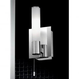 Single Light Switched Bathroom Wall Fitting In Polished Chrome Finish With Shaver Socket