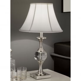 Single Light Table Lamp In Satin Nickel Finish With White Bowed Drum Shade