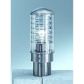 Terran Single Light Outdoor Small Post Light In Stainless Steel Finish With Clear Acrylic Diffuser.