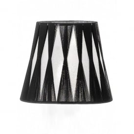 Translucent Silver Fabric Candle Shade with Black Tied Detail
