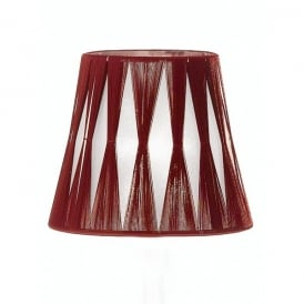 Translucent Silver Fabric Candle Shade with Deep Red Tied Detail